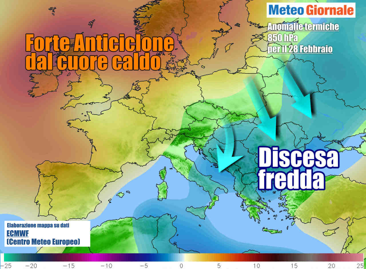 Le anomalie termiche attese a fine febbraio, con aria più fredda che punterà i Balcani e il Sud Italia