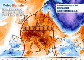 Le anomalie di temperatura al suolo previste per l'inizio di settimana