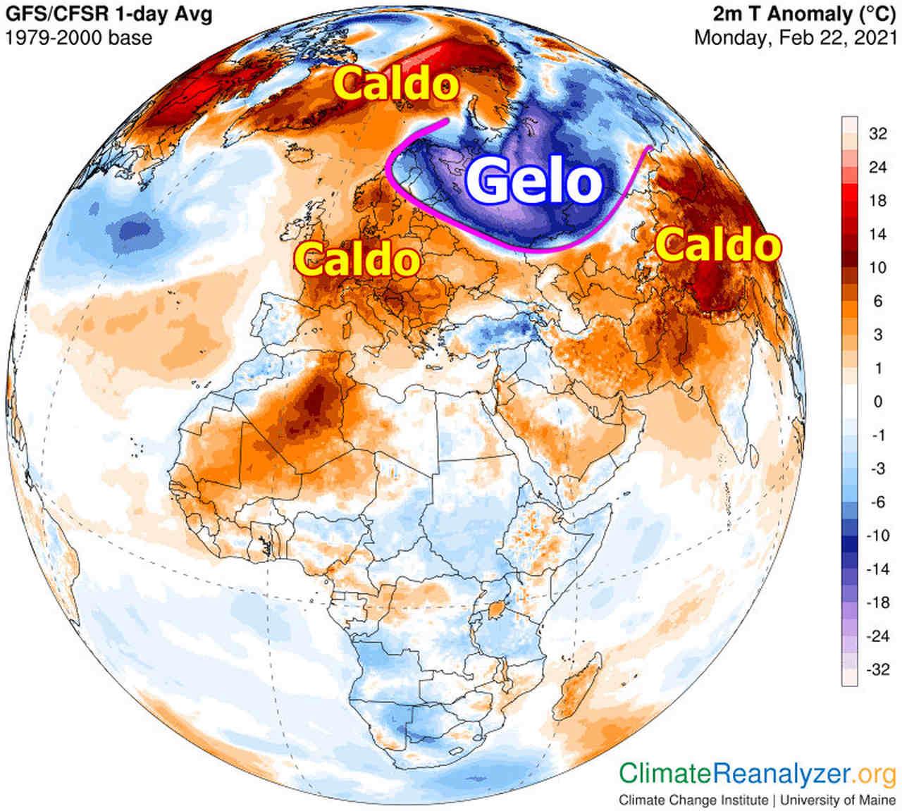 Le anomalie termiche alla data del 22 febbraio a livello del suolo in Europa, Africa e Asia