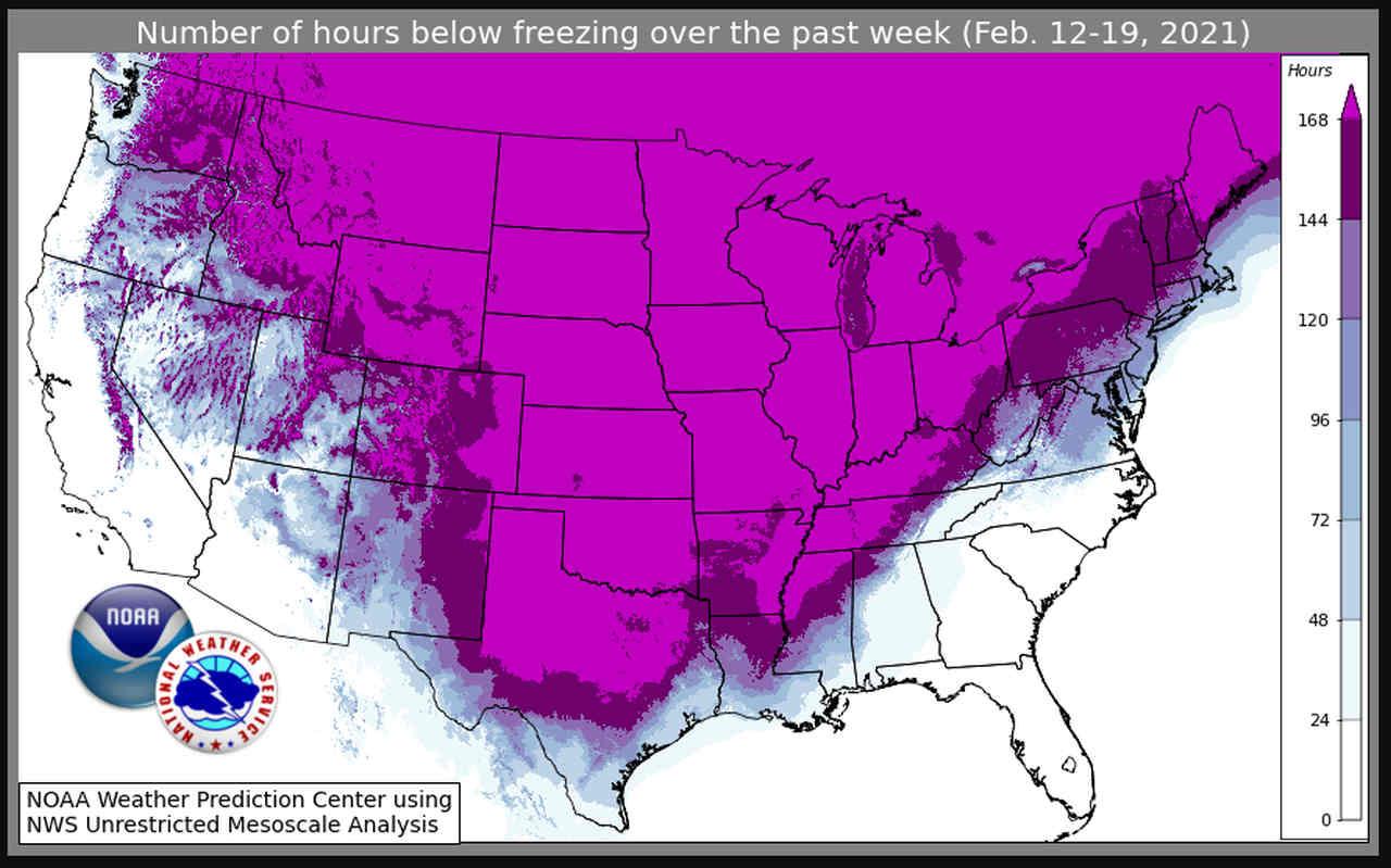In viola le aree con temperature costantemente sottozero dal 12 al 19 febbraio