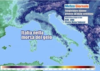Le temperature più basse previste ad inizio settimana, con l'Italia sottozero al Centro-Nord e zone interne del Sud