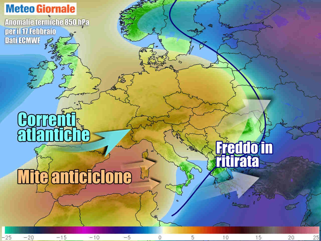 Aria mite in arrivo sull'Italia, ma anche infiltrazioni umide atlantiche