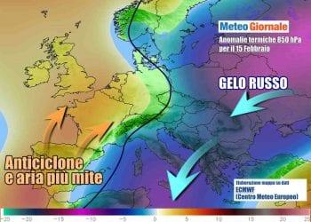 Scenario per l'inizio di settimana, da ovest si approssimerà aria gradualmente più mite