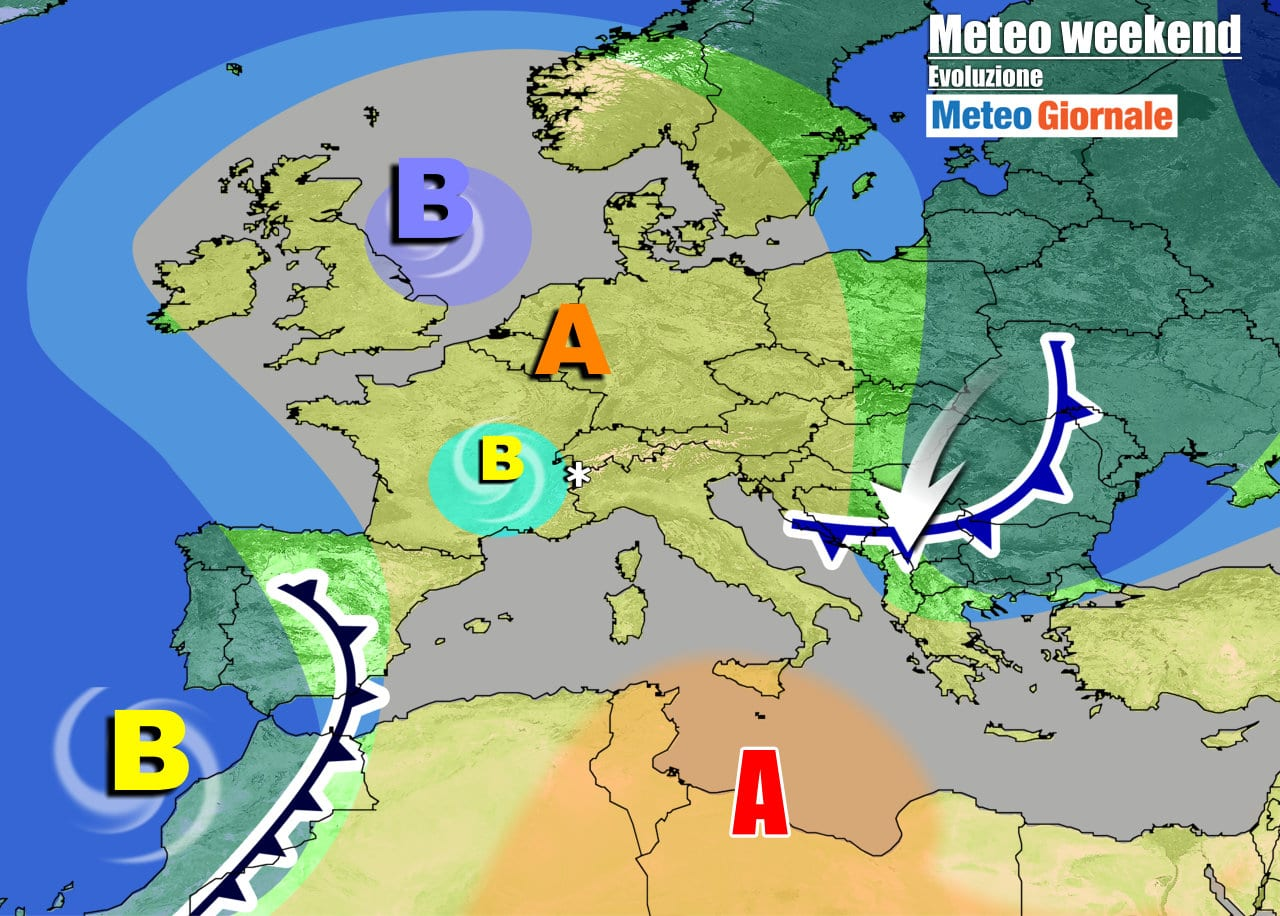 Nel weekend l'anticiclone sarà più debole, con varie smagliature e arrivo d'infiltrazioni d'aria più fresca