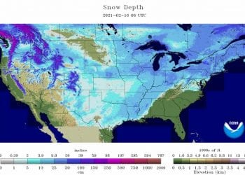 Copertura nevosa mai così diffusa negli Stati Uniti