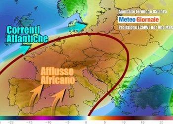 Evoluzione meteo per fine mese, con il clima più caldo del normale su parte dell'Europa, compresa l'Italia
