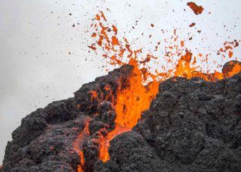 Una veduta ravvicinata del vulcano Fagradalsfjall