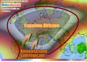 Scenario meteo in Europa nella prima parte di settimana
