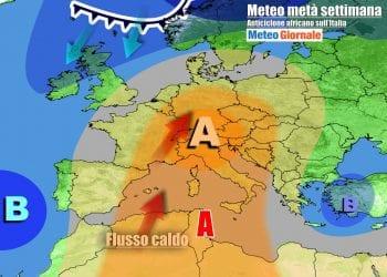 Anticiclone africano ai massimi sull'Italia e su mezza Europa a metà settimana