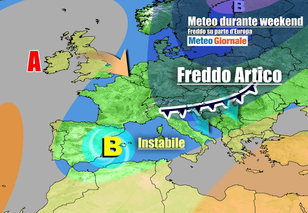 La situazione prevista nel weekend, più fredda e instabile