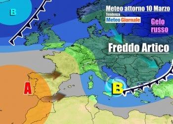 Evoluzione meteo verso metà settimana, con anticiclone in avvicinamento da ovest