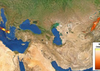 Le tracce d'anidride solforosa messe in evidenza dal Satellite Sentinel-5