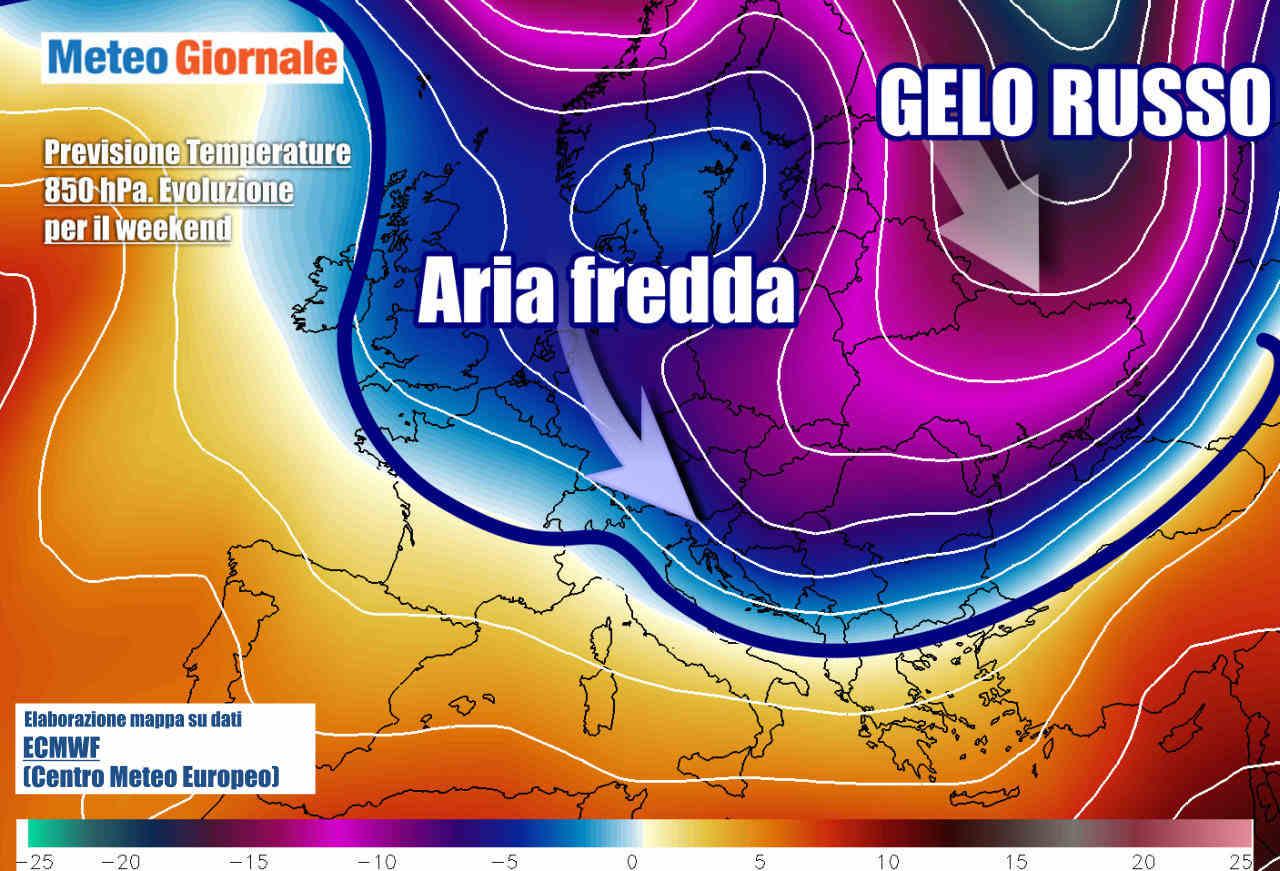 Evoluzione verso weekend, con aria artica che farà rotta fin su parte dell'Italia