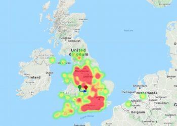 Palla di fuoco sul Regno Unito il 28 febbraio 2021 - traiettoria e mappa termica di AMS.