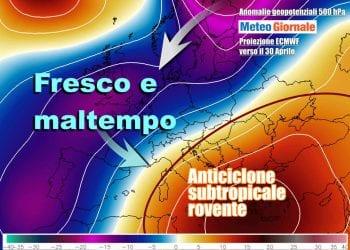 Italia divisa in due nell'ultima parte della settimana, con caldo anticiclone che si estenderà a tutto il Centro-Sud