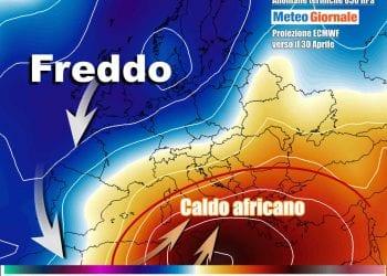 L'aria fredda in discesa sull'Atlantico farà risalire aria molto calda sul Mediterraneo