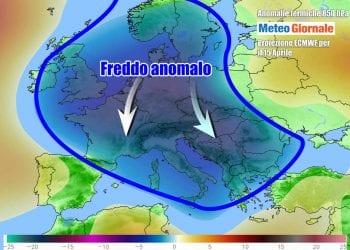 Nuova fase acuta di freddo su gran parte dell'Europa