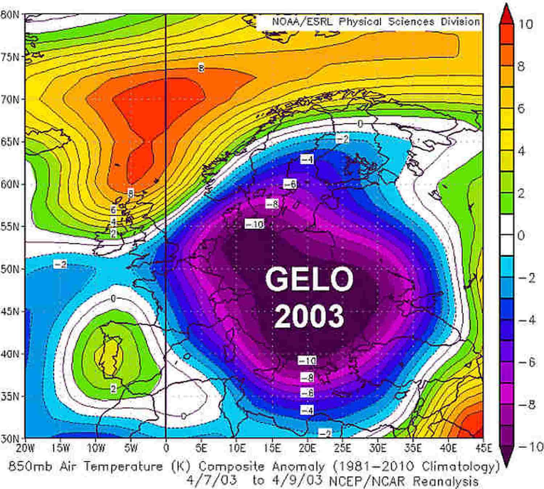 Le anomalie termiche in quota dal 7 al 9 aprile del 2003