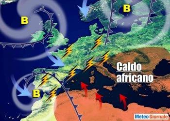 Meteo con caldo africano e temporali.