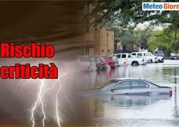 Rischio piogge torrenziali con meteo estremo. Piogge eccessive concentrate in brevi periodi.