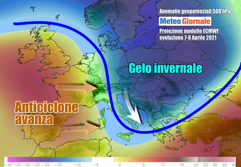 Anticiclone avanza verso l'Italia nel corso di metà settimana