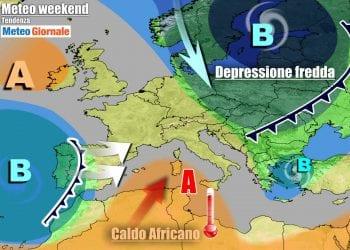 Evoluzione prevista nel corso del weekend, con temporanea affermazione dell'anticiclone su tutta Italia