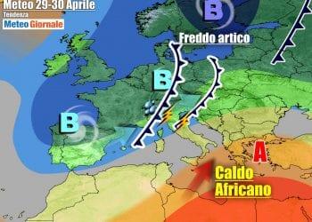 La prevista evoluzione per la seconda parte della settimana, ancora con Italia divisa in due