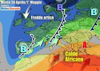 Ultima parte di settimana con l'Italia ancora spaccata in due per le condizioni meteo