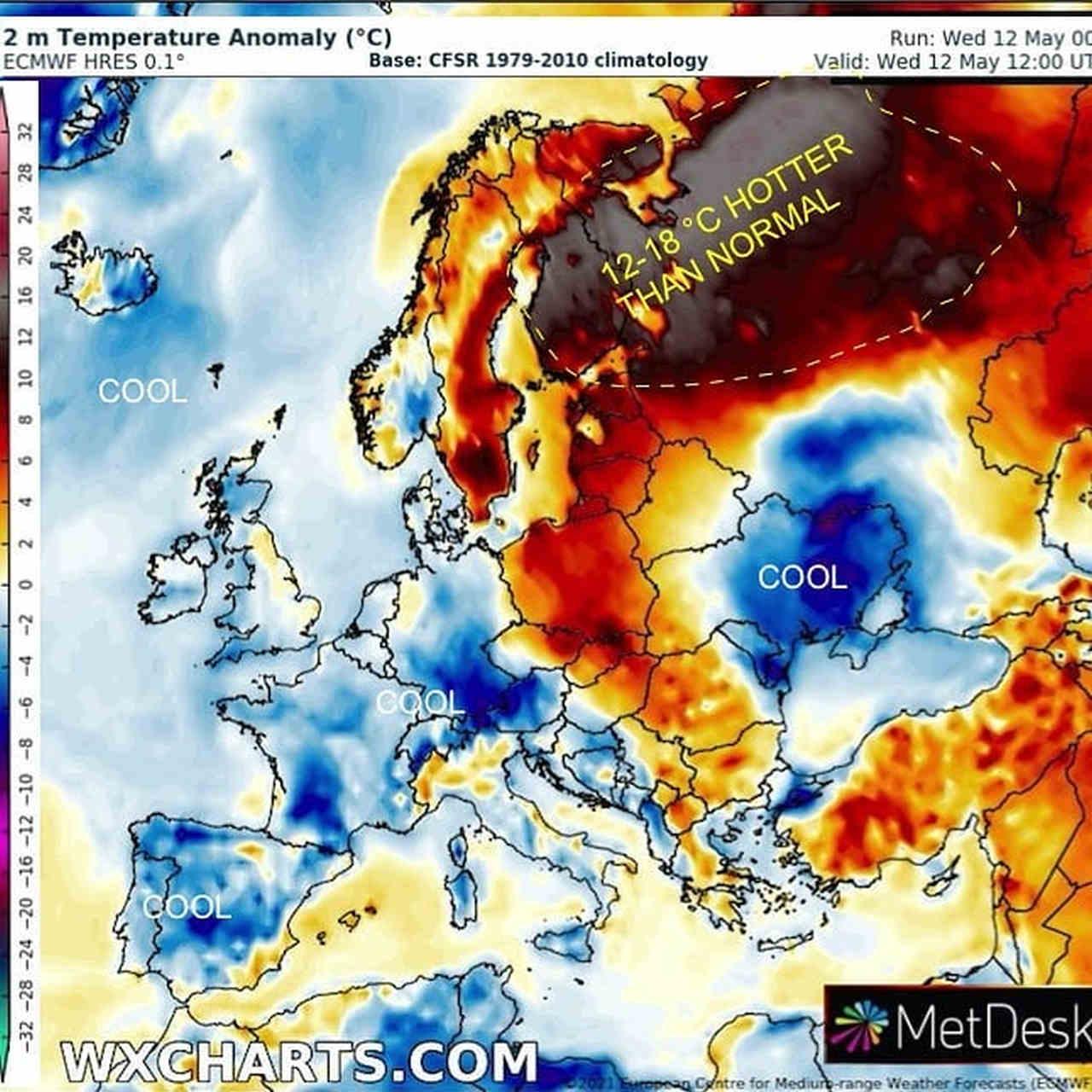 Le anomalie di caldo dei giorni scorsi sull'Europa Nord-Orientale in raffronto al clima più fresco sul Centro-Ovest Europa. Rielaborazione Scott Duncan