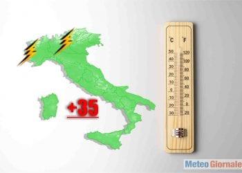 caldo estivo con temperatura 35 gradi