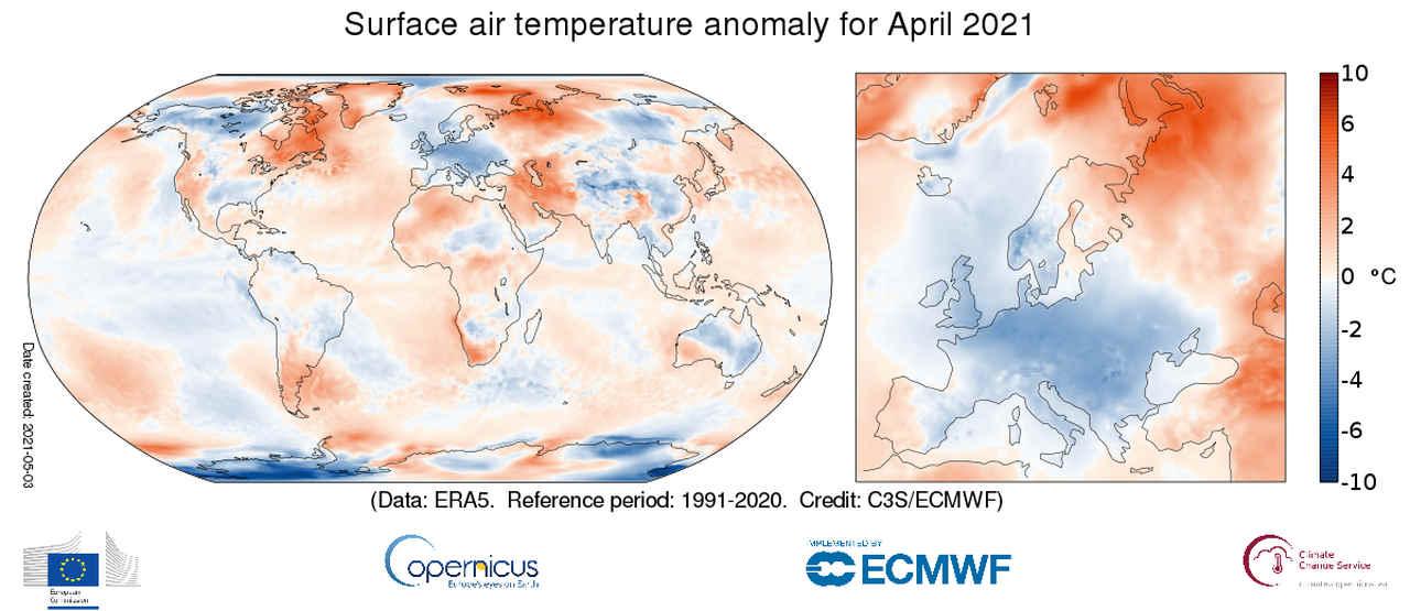 Aprile freddo in Europa, ma non sul resto del Pianeta