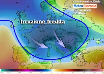 Le anomalie termiche attese nella parte centrale della settimana