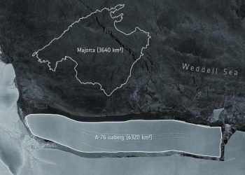La particolare forma allungata dell'iceberg A76, che ha una superficie ben superiore all'isola di Maiorca