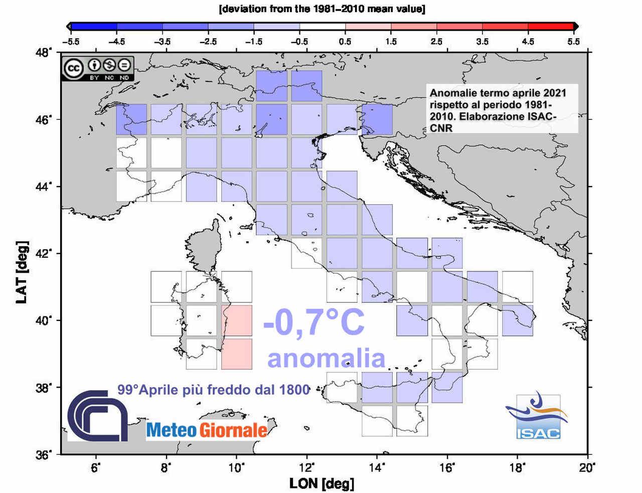 Le anomalie termiche sull'Italia nel mese d'aprile appena trascorso
