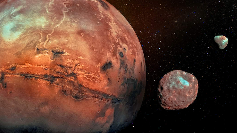 Marte con le sue due lune craterizzate Phobos e Deimos. Elementi di questa immagine forniti dalla NASA.