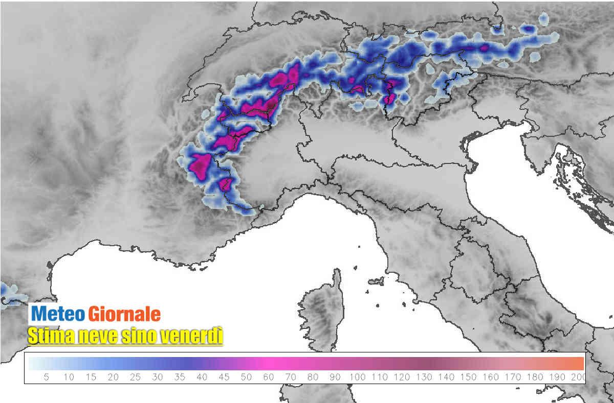 meteo alpi neve prevista