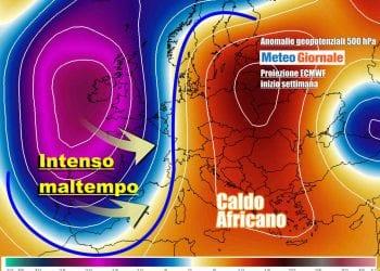 Condizioni di meteo avverso in arrivo ad inizio settimana