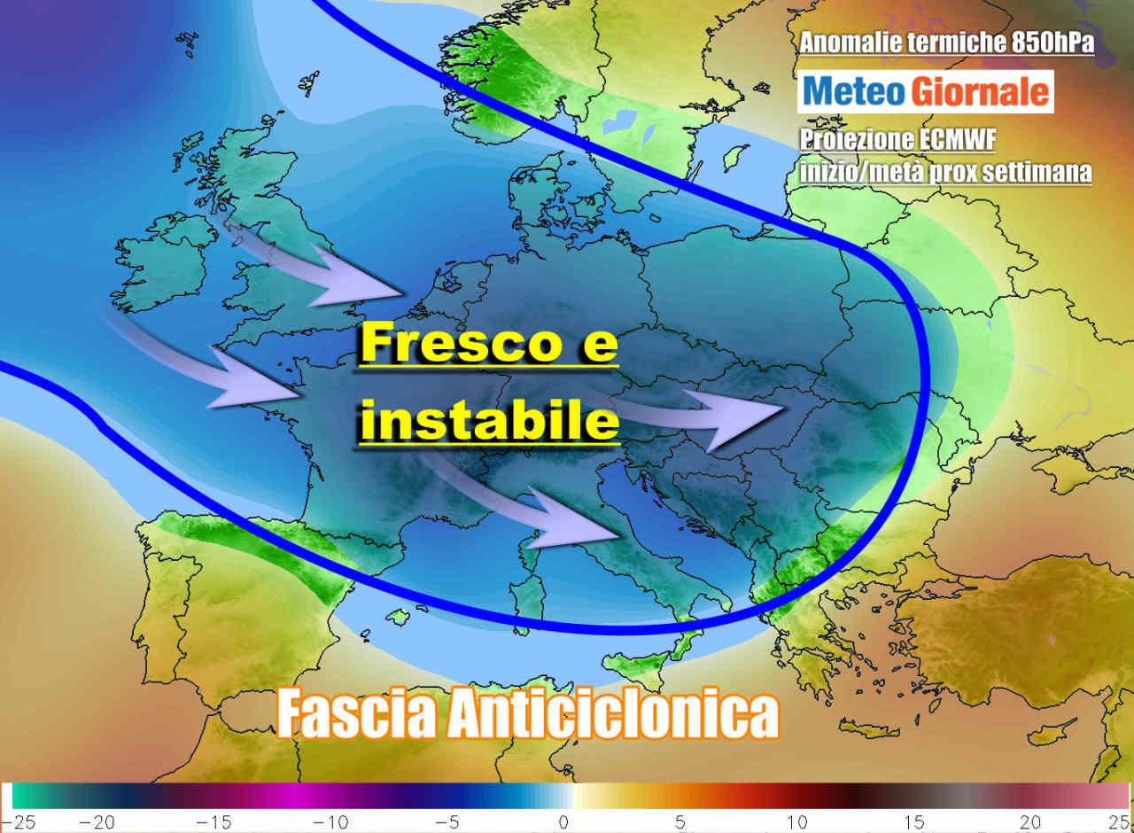 Evoluzione meteo prevista attorno al 18-19 Maggio