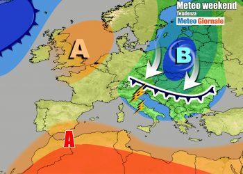 Guasto meteo nel weekend, per una saccatura fredda in arrivo dall'Europa Nord-Orientale