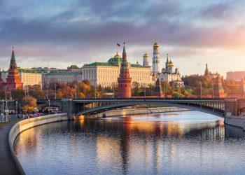 mosca veduta estiva con il fiume moscova