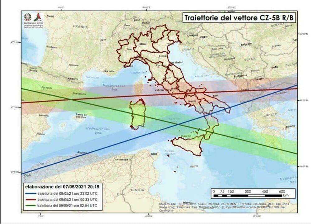 Foto: EUSST. Le rotte del razzo, quindi le aree con potenziali rischi per la caduta dei frammenti.
