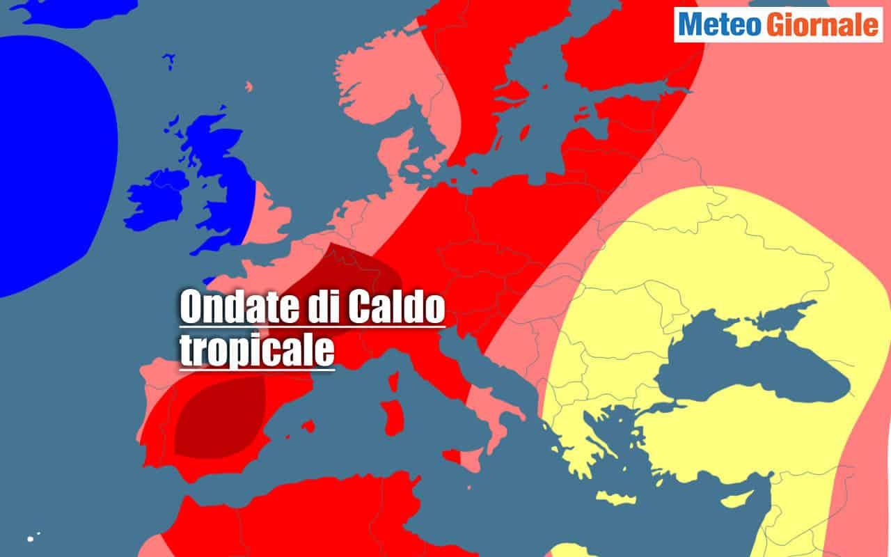 Anomalie termiche espresse dal Centro Meteo Europeo per l'Estate 2021.
