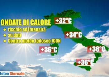 Stima ondata di caldo prevista dal Centro Meteo tedesco ICON.