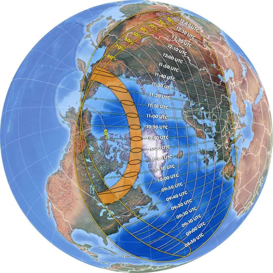 Questo grafico mostra l'estensione dell'eclissi solare anulare del 10 giugno 2021.  (Credito immagine: Michael Zeiler, GreatAmericanEclipse.com)