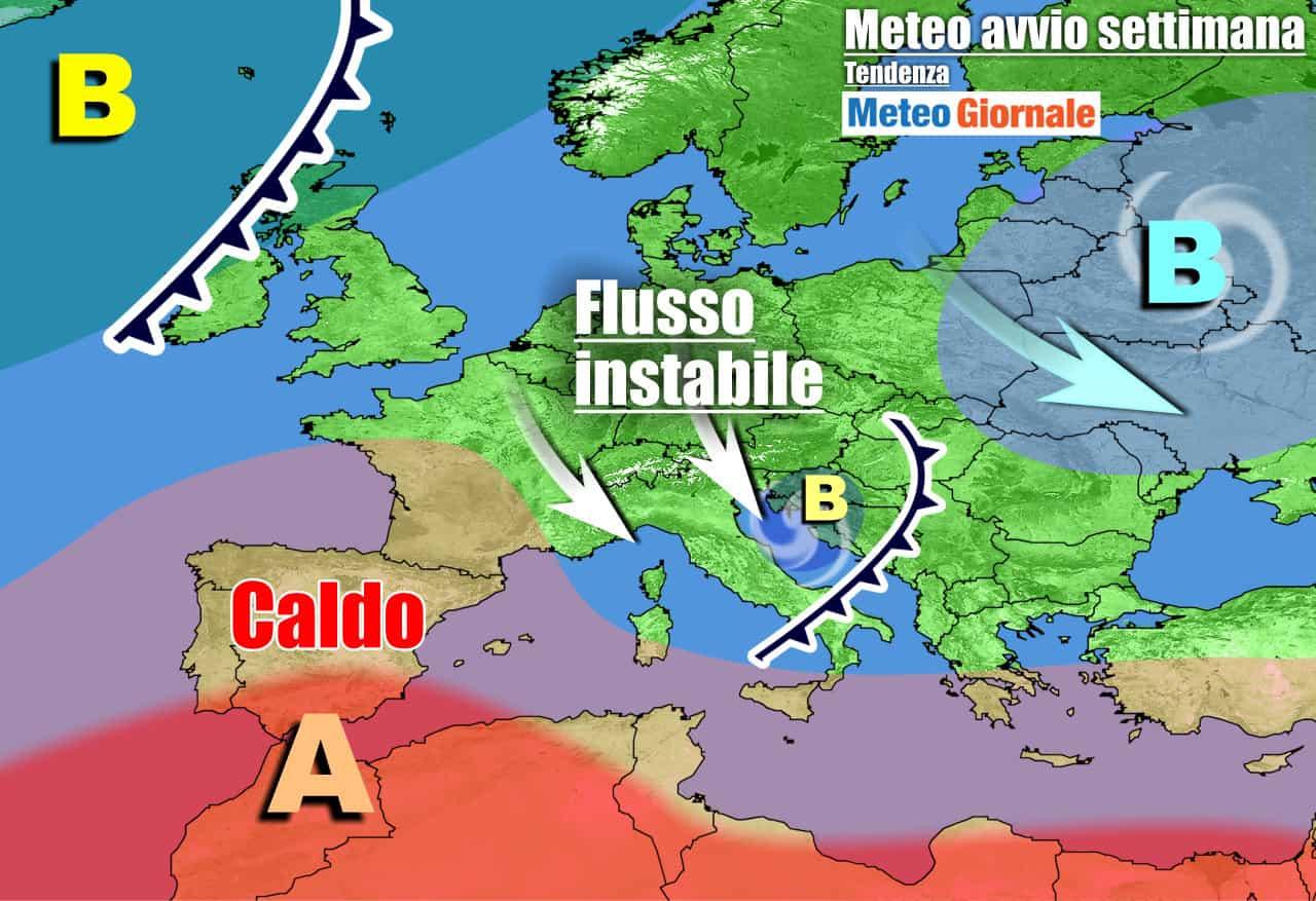 Italia in balia di aria fresca ed instabile nella prossima settimana
