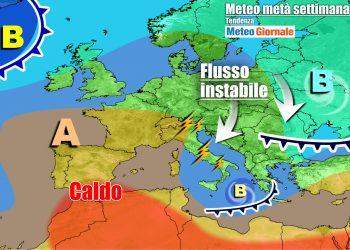 La disposizione delle figure bariche in Europa per metà settimana
