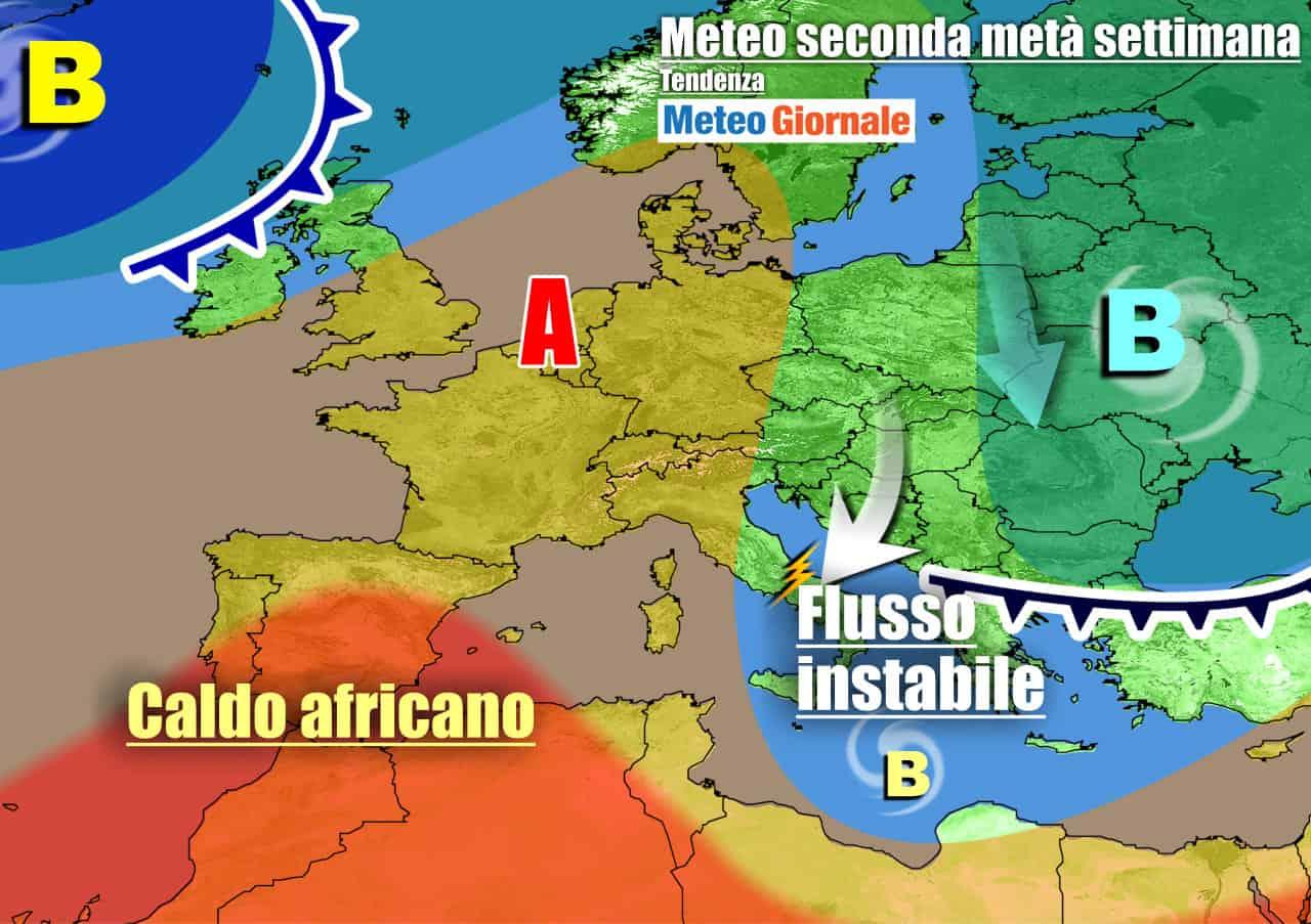 Anticiclone ancora defilato dall'Italia nei prossimi giorni
