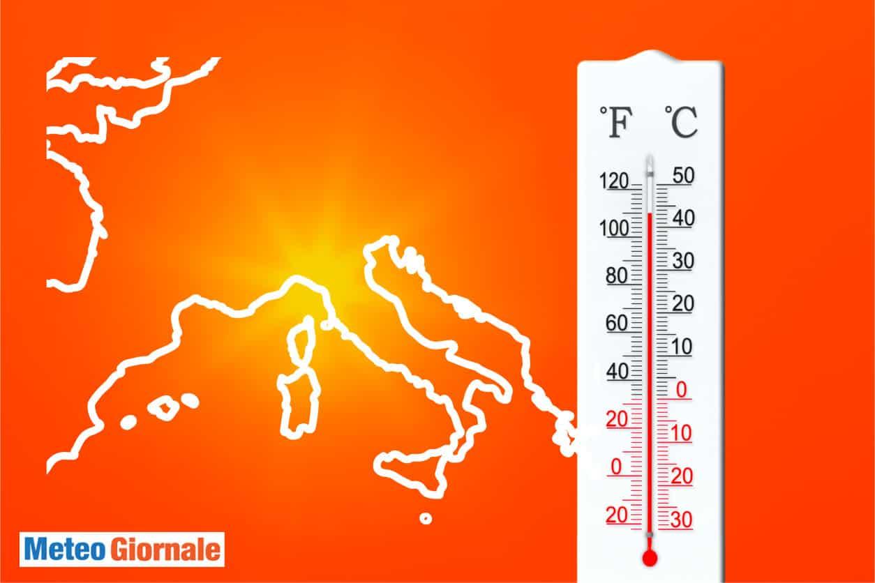 ondata di calore meteo estremo - Meteo mercoledì dal ROSSO infuocato del Sahara. CALDO Record