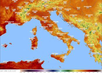 Temperature massime per oggi in Italia.