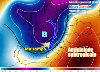 Un intenso sistema perturbato transiterà nel weekend sul Nord Italia